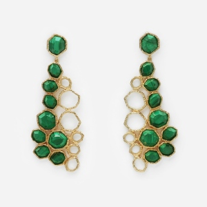 layover - isharya green malachite brass gold jewelry