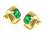 Calla Gold Emerald Studs, made in Santa Barbara