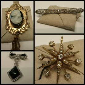 Antique brooches at Claude Moore in Mobile, AL