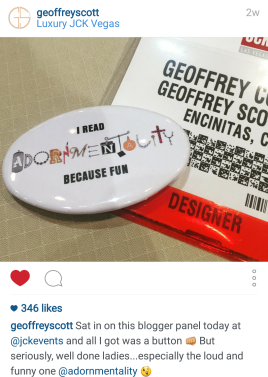 "From the Instagram account of jewelry designer Geoffrey Scott. He calls me the ""loud and funny one"""